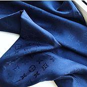 Платки ручной работы. Ярмарка Мастеров - ручная работа Синий платок с логотипом. Handmade.