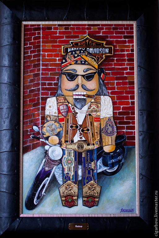 """Люди, ручной работы. Ярмарка Мастеров - ручная работа. Купить Картина из сигарных бантов """"Байкер"""". Handmade. Байкерская сумка"""