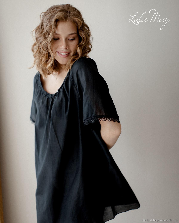 Ночная сорочка Lilit из шелкового батиста черная, Сорочка, Москва,  Фото №1