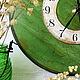"""Часы для дома ручной работы. Часы """"Изумрудное настроение"""". Майорова Елена. Интернет-магазин Ярмарка Мастеров. Зеленый, часы для дома"""
