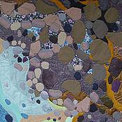 Картины ручной работы. Ярмарка Мастеров - ручная работа Лоскутное панно Цветы на камнях. Handmade.