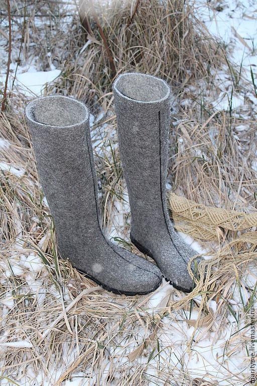 """Обувь ручной работы. Ярмарка Мастеров - ручная работа. Купить Валенки """"Irma"""". Handmade. Темно-серый, подошва"""