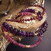 Украшения handmade. Livemaster - original item Set of bracelets - amethyst, garnet, citrine, sapphire.. Handmade.