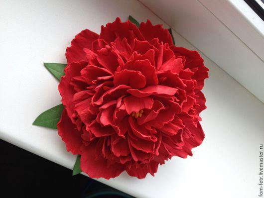 Броши ручной работы. Ярмарка Мастеров - ручная работа. Купить Брошь Пион из фоамирана. Handmade. Ярко-красный, цветы из фоамирана