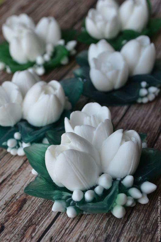 Мыло ручной работы. Ярмарка Мастеров - ручная работа. Купить Букет тюльпанов в белом варианте. Handmade. Белый, цветы, мыло