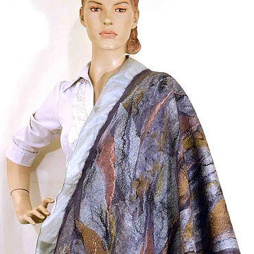 Аксессуары ручной работы. Ярмарка Мастеров - ручная работа Палантины: Палантин валяный большой шарф 100%шелк шерсть. Handmade.