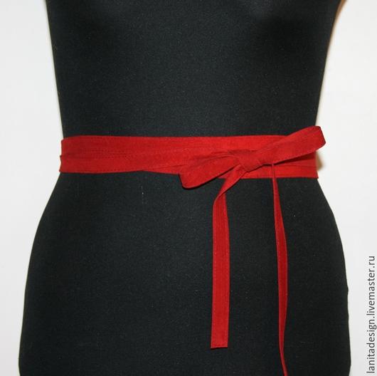 Пояса, ремни ручной работы. Пояс-лента из замши `RED`. Lanita Design. Ярмарка Мастеров.