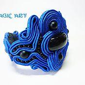 Украшения ручной работы. Ярмарка Мастеров - ручная работа Браслет Волшебная синева. Сутажная вышивка. Handmade.