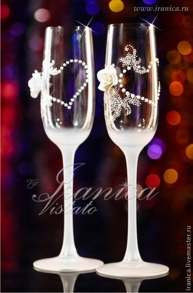 """Свадебные аксессуары ручной работы. Ярмарка Мастеров - ручная работа. Купить Свадебные бокалы """"Flirt"""". Handmade. Белый"""