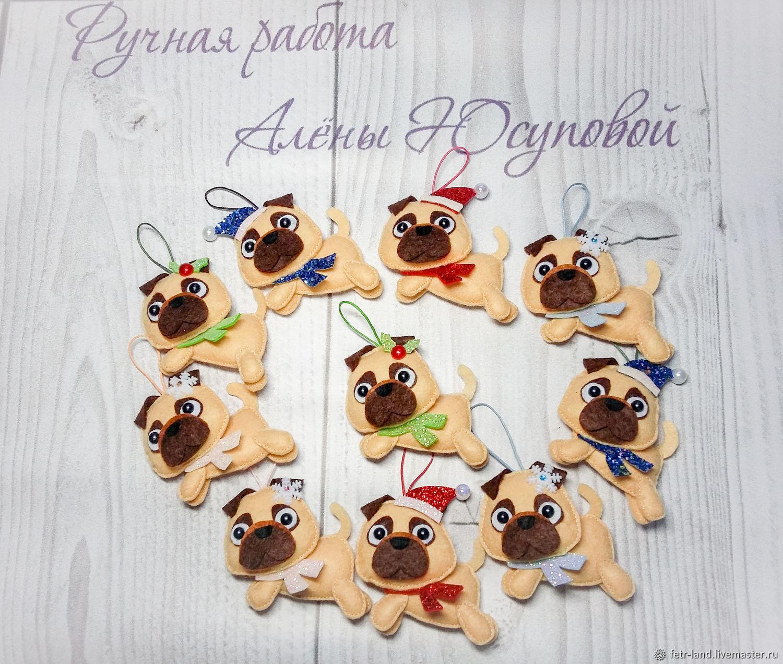 Christmas toys made of felt ' pug'. New year's dog, Christmas decorations, Belgorod,  Фото №1
