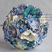 Свадебный салон handmade. Livemaster - original item Denim wedding bouquet with forget-me-nots. Handmade.