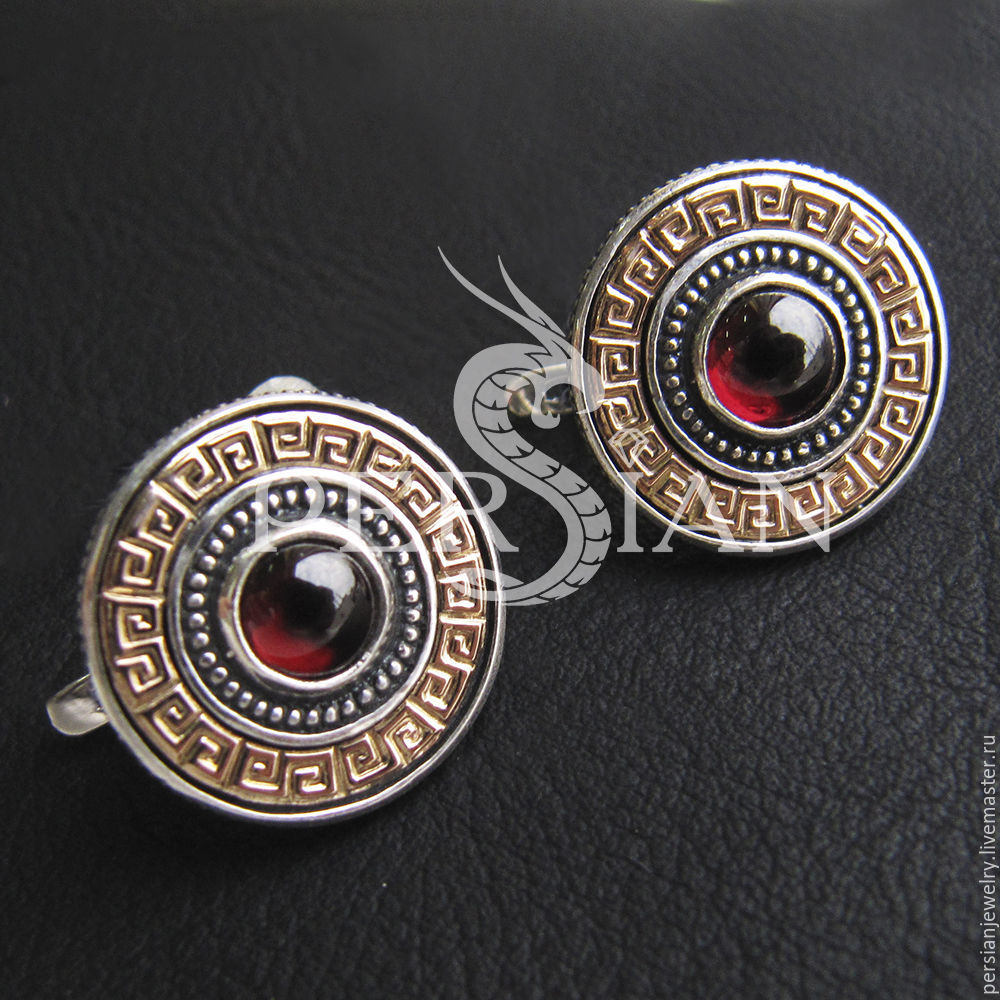 The Empress round earrings with garnet and gold, Earrings, Sevastopol,  Фото №1