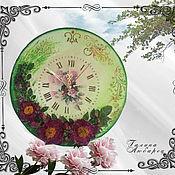 Часы классические ручной работы. Ярмарка Мастеров - ручная работа Часы настенные Цветочное танго. Handmade.