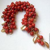 """Украшения ручной работы. Ярмарка Мастеров - ручная работа Браслет """"Wild cranberry"""" коралл. Handmade."""