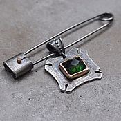 handmade. Livemaster - original item Pin with pendant, silver, gold and copper. Handmade.