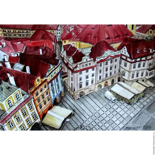 Город ручной работы. Ярмарка Мастеров - ручная работа. Купить Крыши Праги. Вид с башни... Handmade. Ярко-красный, Прага
