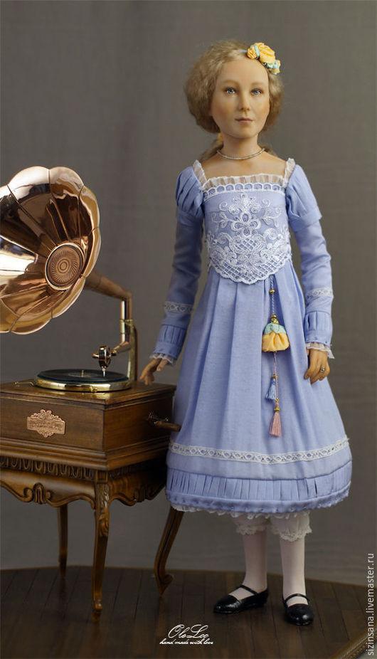 Портретные куклы ручной работы. Ярмарка Мастеров - ручная работа. Купить Портретная кукла Лиза (музыкальная). Handmade. Голубой, ткань