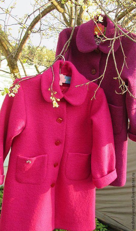 """Одежда для девочек, ручной работы. Ярмарка Мастеров - ручная работа. Купить Пальто """" Лоден"""". Handmade. Фуксия, ретро стиль"""