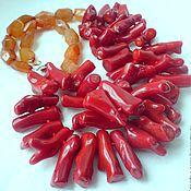 Украшения handmade. Livemaster - original item NECKLACE 2 strands RED CORAL, CARNELIAN beads.. Handmade.