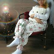 Одежда ручной работы. Ярмарка Мастеров - ручная работа Домашние штанишки. Пижамные брюки. Большой размер.. Handmade.