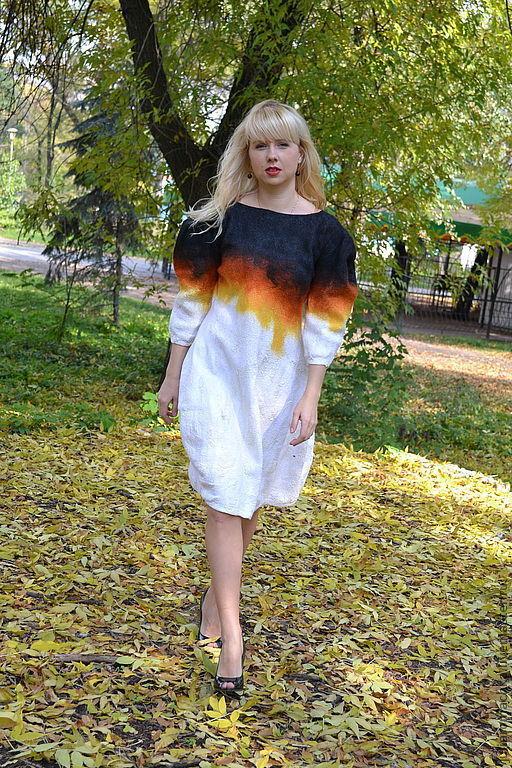 """Платья ручной работы. Ярмарка Мастеров - ручная работа. Купить валяное платье """"осень"""". Handmade. Черный, белый, платье балон"""