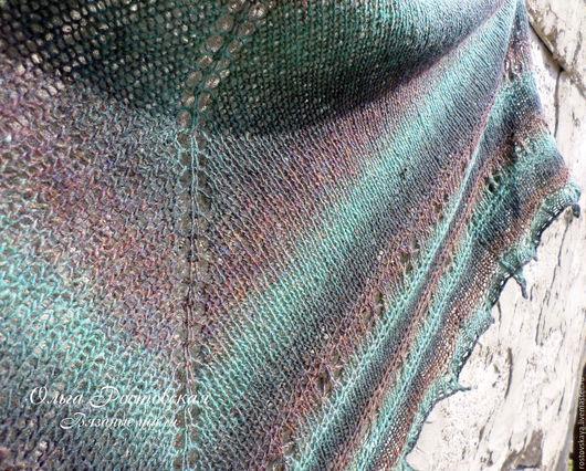 """Шали, палантины ручной работы. Ярмарка Мастеров - ручная работа. Купить Шаль вязаная, ажурная вязанная шаль спицами   """"Зеленый лес"""". Handmade."""