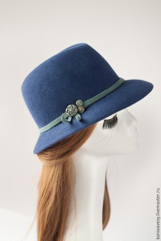 """Шляпы ручной работы. Ярмарка Мастеров - ручная работа. Купить Шляпа- федора """" Сапфировая"""". Handmade. Синий, федора"""