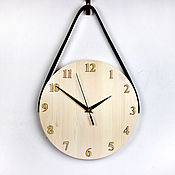 Для дома и интерьера handmade. Livemaster - original item Light wooden wall clock with black leather strap). Handmade.