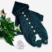 Работы для детей, handmade. Livemaster - original item Knitted baby jumpsuit with braids green. Handmade.