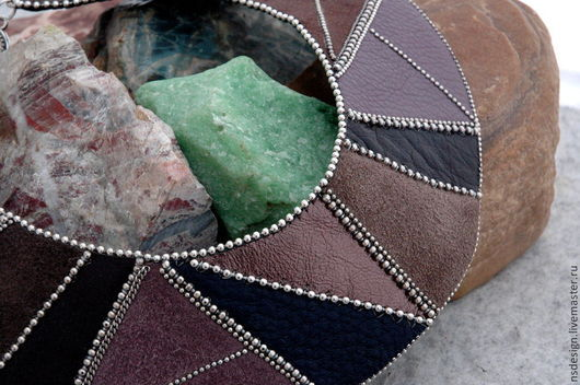 Колье, бусы ручной работы. Ярмарка Мастеров - ручная работа. Купить Кожаное колье Geometrical. Handmade. Кожаное колье, шоколадный