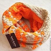 """Аксессуары ручной работы. Ярмарка Мастеров - ручная работа Шарф-снуд """"Energy Orange"""" в два оборота. Handmade."""