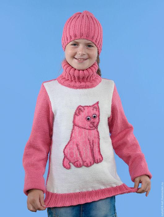 """Одежда для девочек, ручной работы. Ярмарка Мастеров - ручная работа. Купить Подростковый свитер """"PINK cat"""". Handmade. Розовый, зима"""