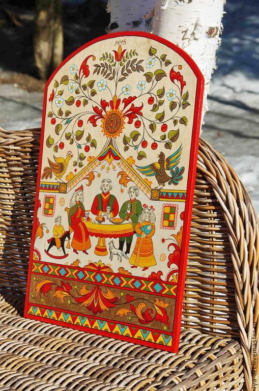 Подарок на юбилей. Панно расписное. Северодвинская роспись.