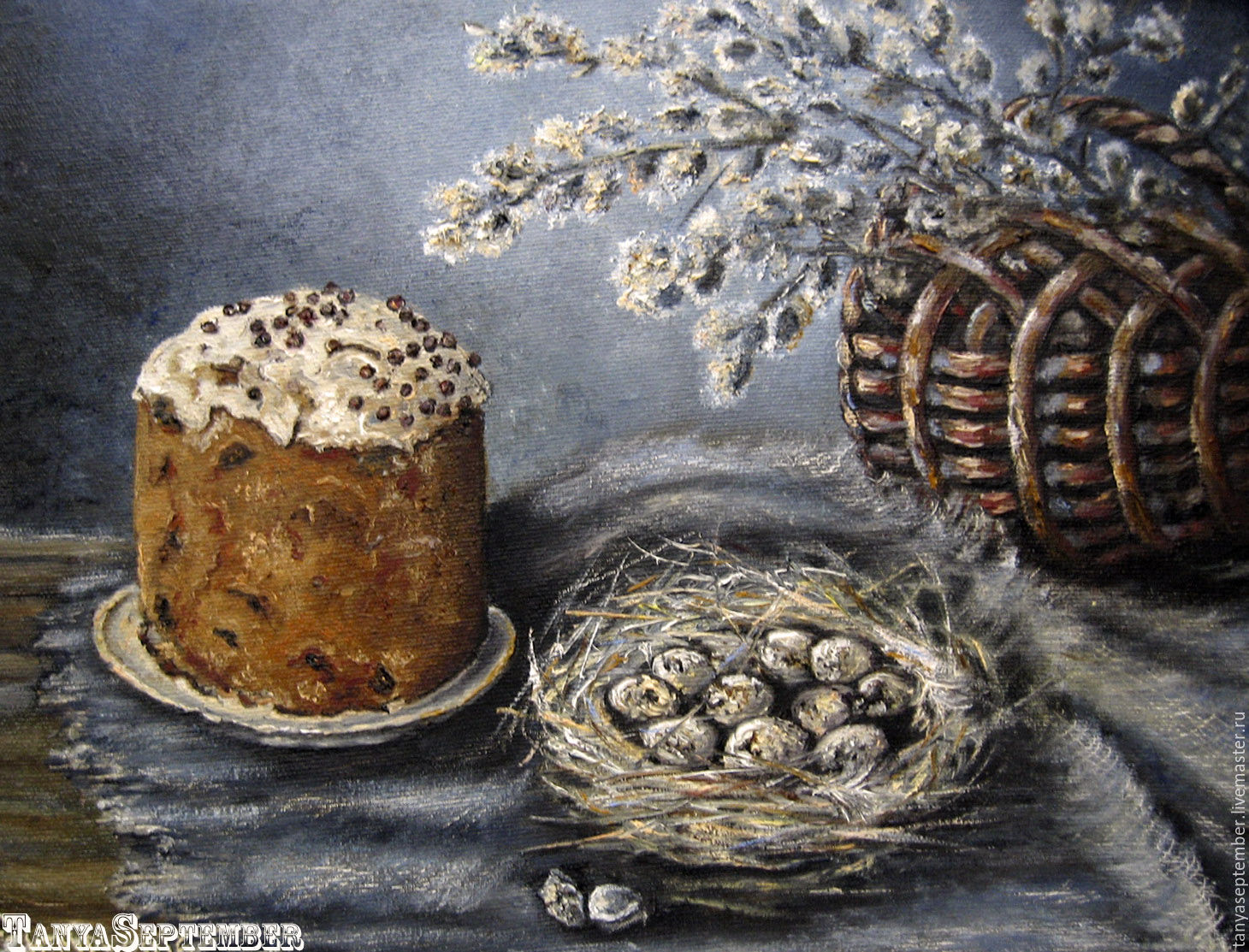 Oil painting in frame EASTER still life WITH CAKE, Pictures, Moscow,  Фото №1