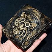 Сумки и аксессуары handmade. Livemaster - original item Steampunk cat leather purse . Steampunk purse. Handmade.
