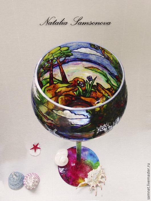 """Подсвечники ручной работы. Ярмарка Мастеров - ручная работа. Купить Ваза-подсвечник """"Радужный мир"""". Handmade. Разноцветный, дерево"""