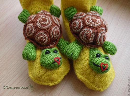 """Обувь ручной работы. Ярмарка Мастеров - ручная работа. Купить """"Подружки-Черепашки"""". Вязаные носкотапки. Handmade. Желтый, войлок"""