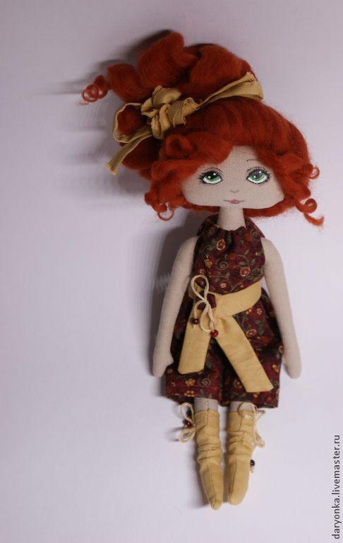 Куклы тыквоголовки ручной работы. Ярмарка Мастеров - ручная работа. Купить Пеппи. Handmade. Кукла, кукла интерьерная, Рыжая, лён