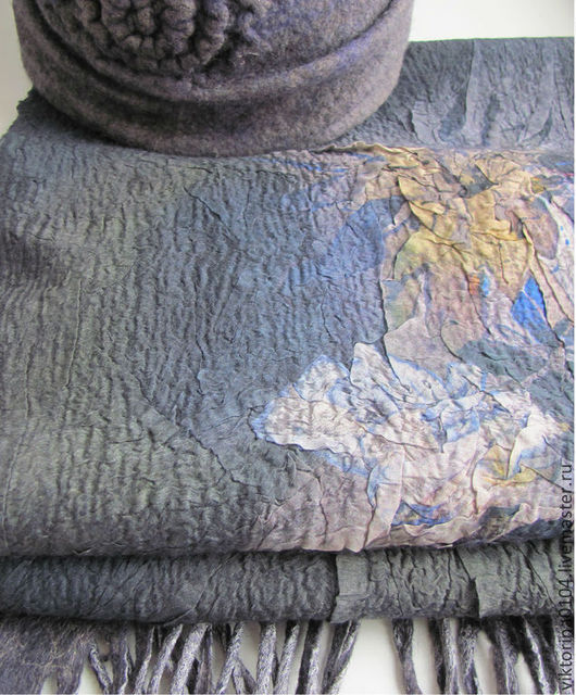"""Шарфы и шарфики ручной работы. Ярмарка Мастеров - ручная работа. Купить Шарф """"Лунный цветок"""". Handmade. Серый, нунофелтинг"""