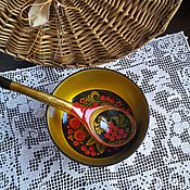 Винтаж ручной работы. Ярмарка Мастеров - ручная работа Деревянные чашка и ложка Хохлома. Handmade.