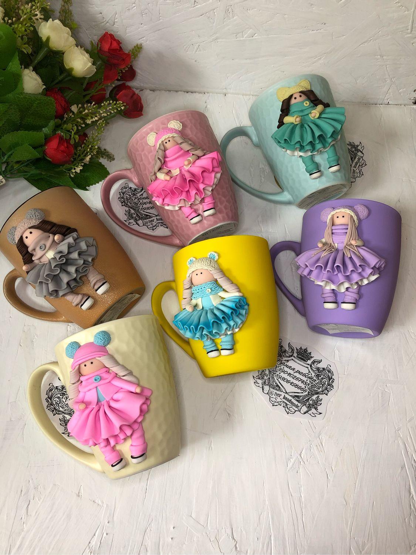 Кружка с декором из полимерной глины, Детская посуда, Тверь,  Фото №1