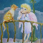 Картины и панно ручной работы. Ярмарка Мастеров - ручная работа Ангел и Рыжий кот Картина масло 15х20 см. Handmade.