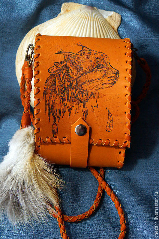 """Женские сумки ручной работы. Ярмарка Мастеров - ручная работа. Купить маленькая кожаная сумочка """"Рысь"""". Handmade. Рыжий"""