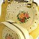 Комплект комбинированная большая сумка с фермуаром и косметичка, из кожи и льна с апликациями и ручной росписью, кожаная сумка в подарок, стильный комплект аксессуаров, розы, модный образ, подарочный