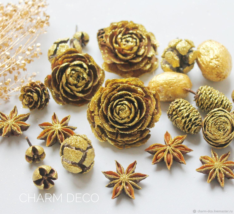 Микс природного декора 1уп золото, Материалы, Санкт-Петербург, Фото №1