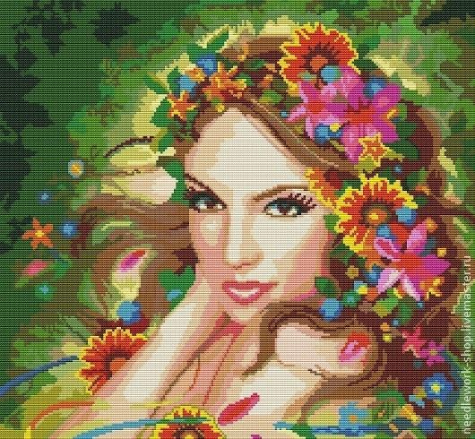 """Люди, ручной работы. Ярмарка Мастеров - ручная работа. Купить Схема для вышивки крестом """"Девушка Весна"""". Handmade. Разноцветный"""