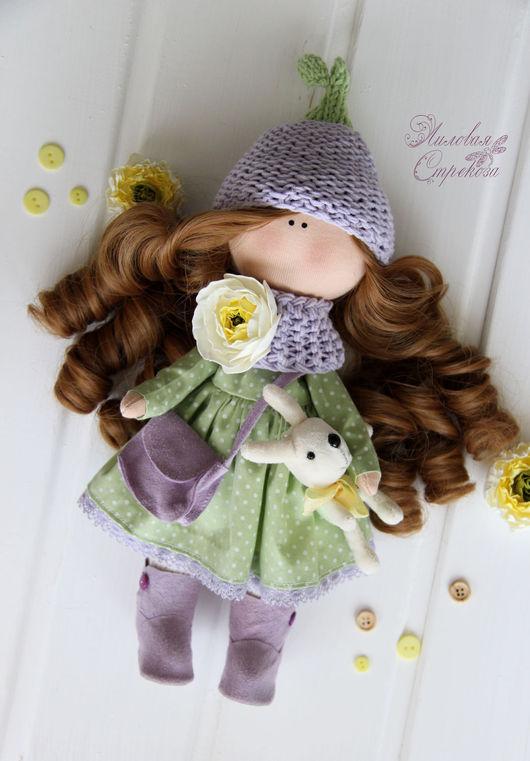 Куклы тыквоголовки ручной работы. Ярмарка Мастеров - ручная работа. Купить Текстильная куколка Бекки.. Handmade. Сиреневый, кукла интерьерная