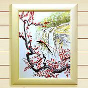 """Картины и панно ручной работы. Ярмарка Мастеров - ручная работа Картина с сакурой - часы настенные """"Цветущая ветвь"""". Handmade."""