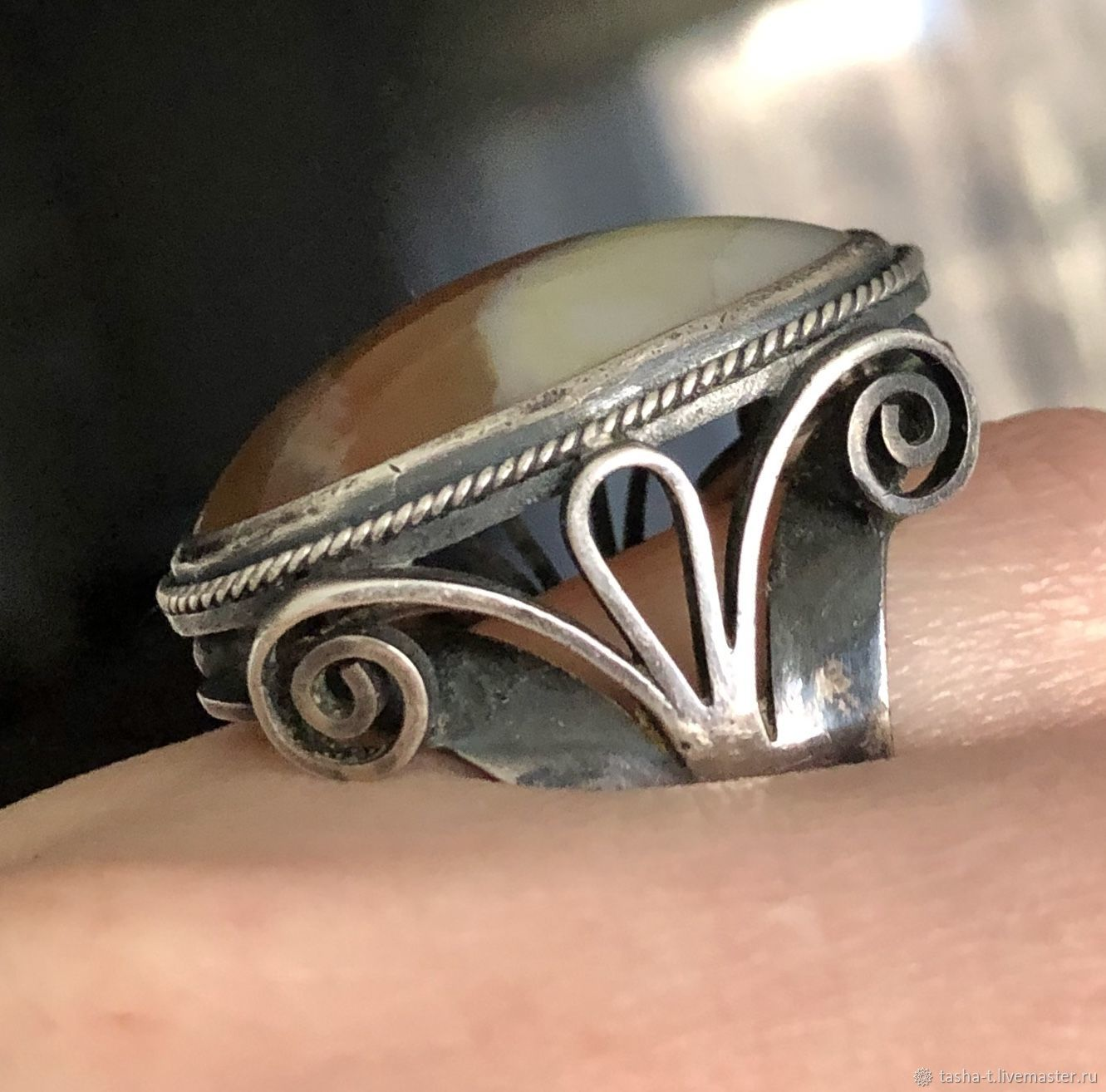 Винтаж: Агат,винтажное крупное серебряное кольцо, Кольца винтажные, Москва,  Фото №1