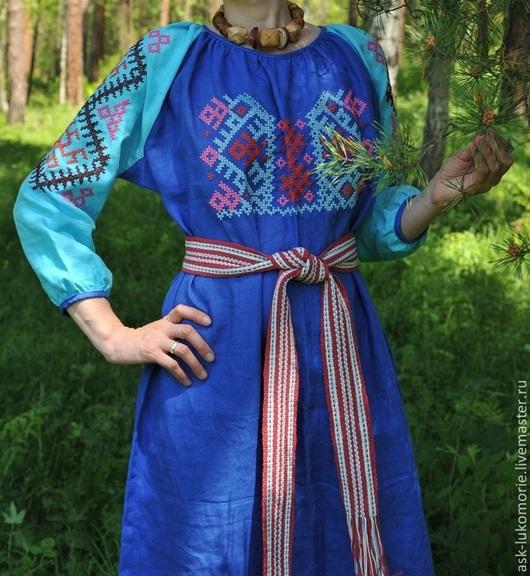 Одежда ручной работы. Ярмарка Мастеров - ручная работа. Купить платье с Обережной вышивкой. Handmade. Тёмно-синий, женская одежда
